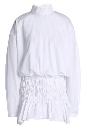 ELLERY Shirred cotton-poplin top