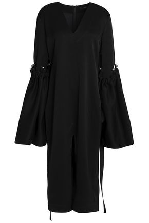 ELLERY Split-front embellished crepe midi dress