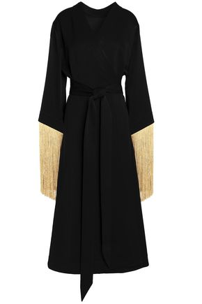 ELLERY Wrap-effect fringe-trimmed satin-crepe midi dress