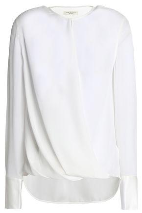 RAG & BONE Wrap-effect draped silk top