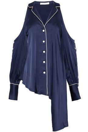 JONATHAN SIMKHAI Cold-shoulder asymmetric satin shirt