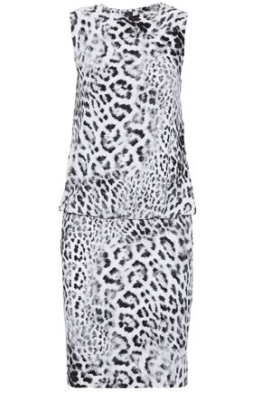 NORMA KAMALI Gathered leopard-print ponte mini dress