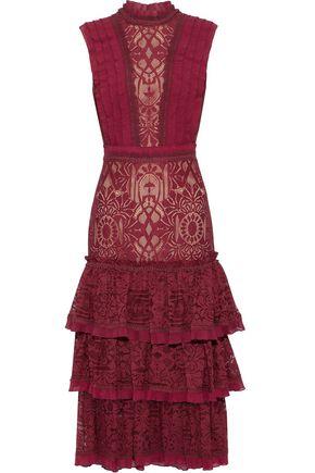 JONATHAN SIMKHAI Tiered pleat-trimmed lace dress