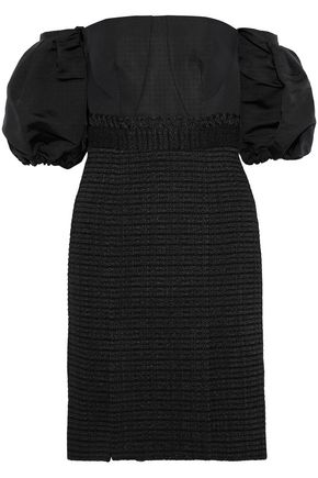 JONATHAN SIMKHAI Off-the-shoulder silk-faille and cotton-blend tweed dress