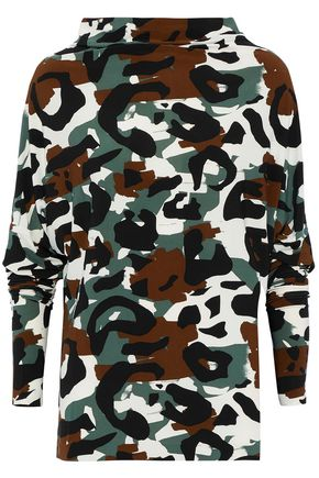 NORMA KAMALI Convertible printed stretch-jersey top