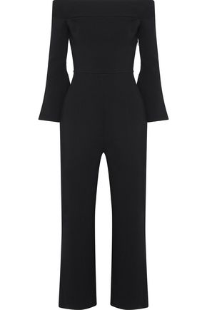 ROLAND MOURET Felbridge cropped off-the-shoulder stretch-knit jumpsuit