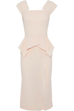 ROLAND MOURET Draped wool-crepe peplum dress