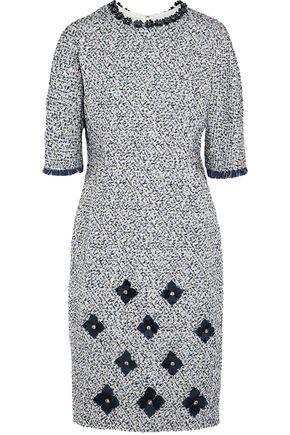 MARY KATRANTZOU Gambit floral-appliquéd metallic bouclé-tweed dress