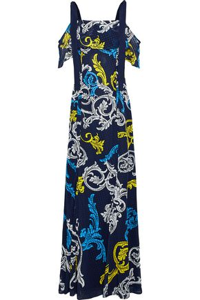 MARY KATRANTZOU Canasta cold-shoulder printed fil coupé chiffon maxi dress