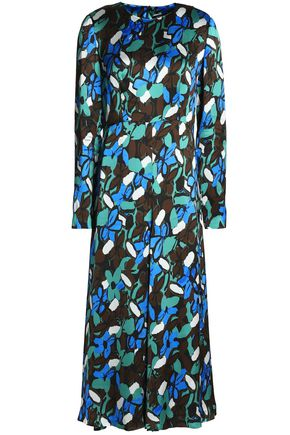 GOEN.J Printed satin midi dress