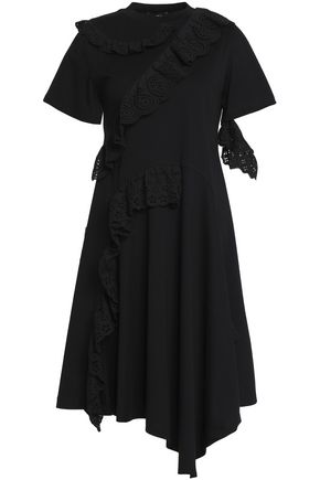 GOEN.J Asymmetric ruffled broderie anglaise-trimmed cotton-jersey dress