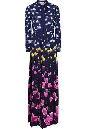 MARY KATRANTZOU Duritz pussy-bow floral-print crepe de chine gown