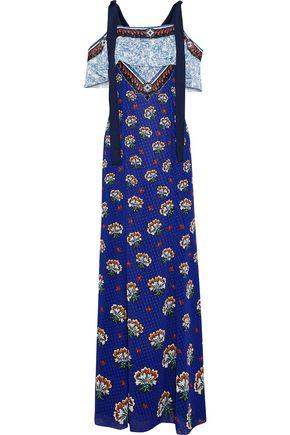 MARY KATRANTZOU Canasta cold-shoulder printed fil coupé chiffon maxi dress
