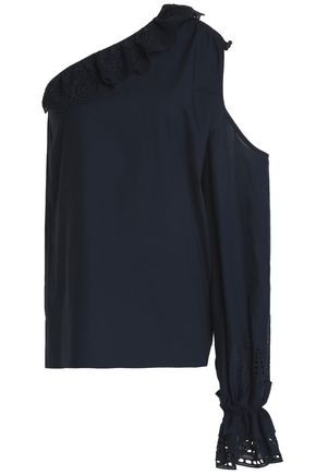 GOEN.J One-shoulder cutout broderie anglaise-trimmed cotton-poplin top