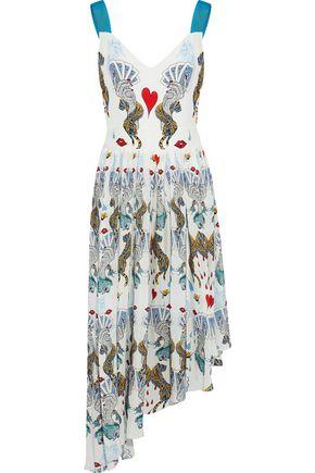 MARY KATRANTZOU Asymmetric printed silk crepe de chine midi dress
