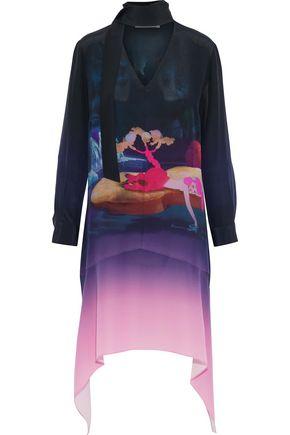 MARY KATRANTZOU + Disney Hearts pussy-bow printed silk crepe de chine mini dress