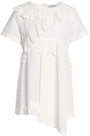 GOEN.J Asymmetric ruffled broderie anglaise and embroidered cotton top