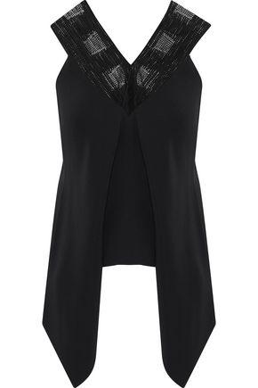 ROLAND MOURET Lancaut guipure lace-paneled draped crepe blouse