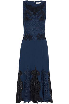 JONATHAN SIMKHAI Guipure lace-paneled crepe dress