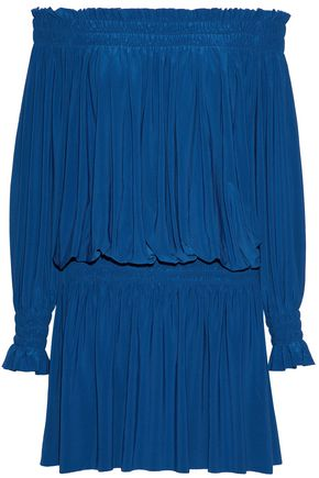 NORMA KAMALI Off-the-shoulder shirred stretch-knit mini dress