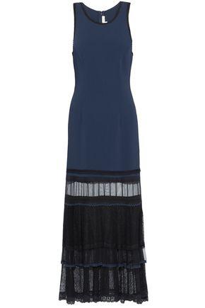 JONATHAN SIMKHAI Tiered lace-paneled two-tone crepe midi dress