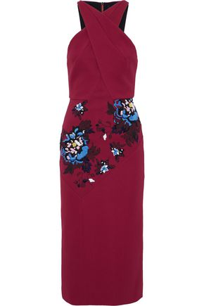 ROLAND MOURET Maxton paneled embroidered printed crepe dress