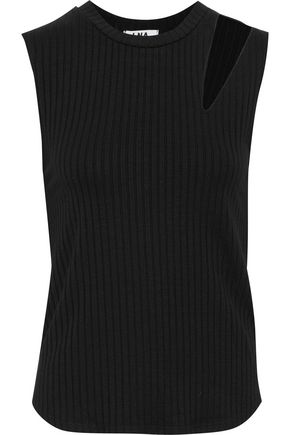 LNA Slice cutout ribbed-knit tank
