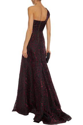 ROLAND MOURET One-shoulder fil coupé gown