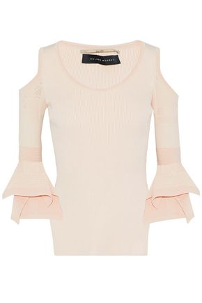 ROLAND MOURET Cold-shoulder pointelle-knit top