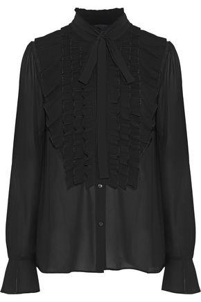 BAILEY 44 Diabolical ruffle-trimmed crepe de chine blouse