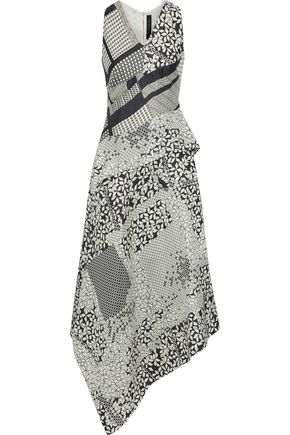 ROLAND MOURET Caddington printed silk-twill midi dress