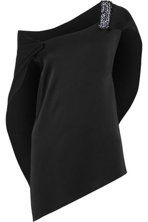 ROLAND MOURET Asymmetric embellished satin-crepe blouse