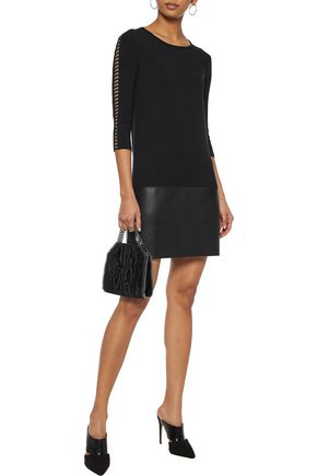 BAILEY 44 Kendo laser-cut stretch-jersey and faux leather mini dress