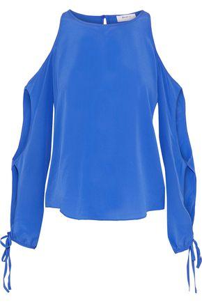 BAILEY 44 Take It Easy cold-shoulder cutout silk-crepe de chine top
