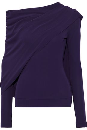 ROLAND MOURET Draped stretch-jersey blouse