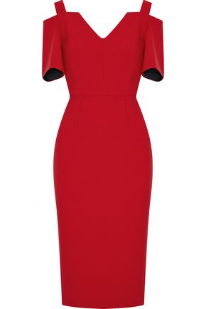 ROLAND MOURET Cold-shoulder wool-crepe dress