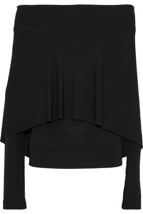 WOMAN CAPE-EFFECT STRETCH-KNIT TOP BLACK