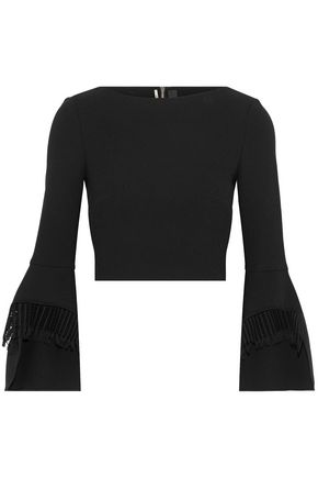 ROLAND MOURET Liverton cropped fringe-trimmed wool-crepe top