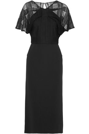 ROLAND MOURET Guipure lace-paneled crepe midi dress