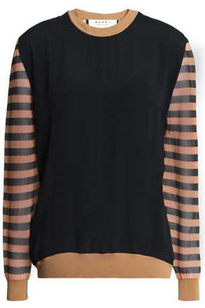 MARNI Striped gauze-paneled French terry sweatshirt