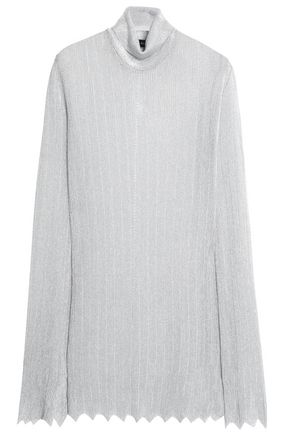 ELLERY Metallic ribbed-knit turtleneck sweater