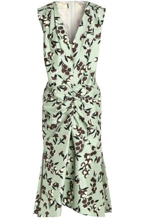 MARNI Ruched floral-print cotton and silk-blend dress