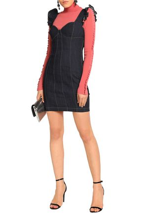 eaf375338e ... CINQ À SEPT Mathis ruffle-trimmed denim mini dress ...