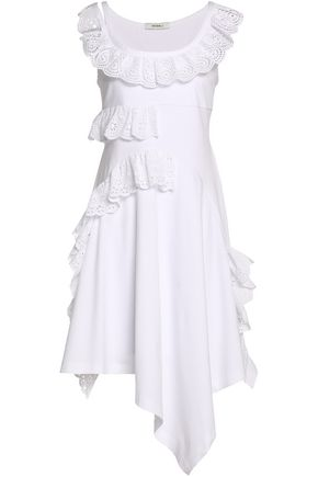 GOEN.J Asymmetric ruffled broderie anglaise-trimmed cotton-jersey dress