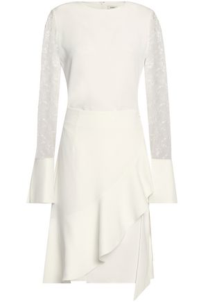 GOEN.J Embroidered tulle-paneled ruffled crepe dress