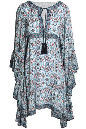 TALITHA Draped printed silk crepe de chine mini dress