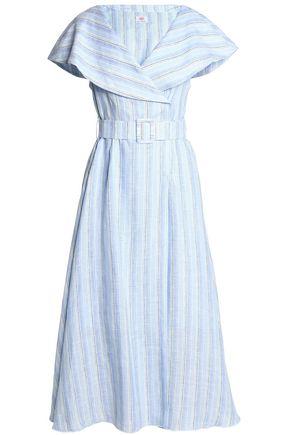 GÜL HÜRGEL Layered striped linen midi dress