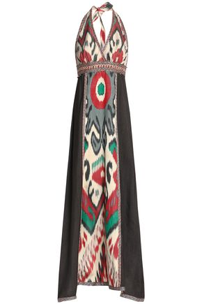 TALITHA Printed silk halterneck maxi dress