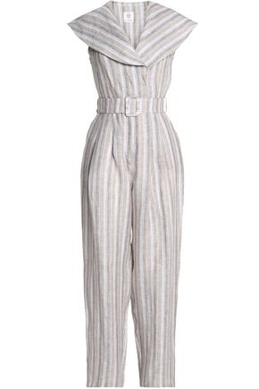 GÜL HÜRGEL Belted striped linen jumpsuit