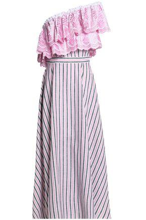 GÜL HÜRGEL Belle one-shoulder striped cotton and linen-blend midi dress